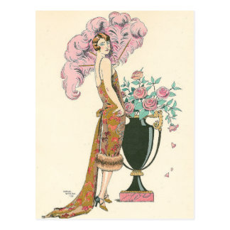 Red and Gold by George Barbier Postcard