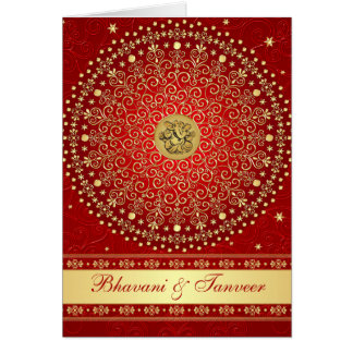 Red And Gold Wedding Greeting Cards