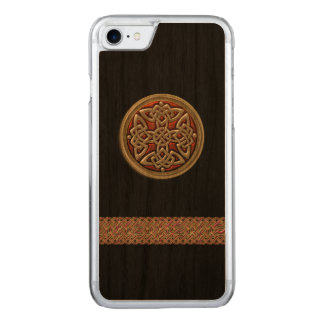 Red and Gold Celtic Knot Black Wood iPhone 6 Carved iPhone 7 Case