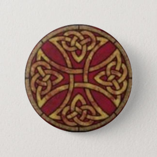 Red and Gold Celtic Knot Pinback Button