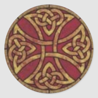 Red and Gold Celtic Knot Classic Round Sticker