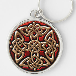 Red and Gold Celtic Shield Knot Keychain