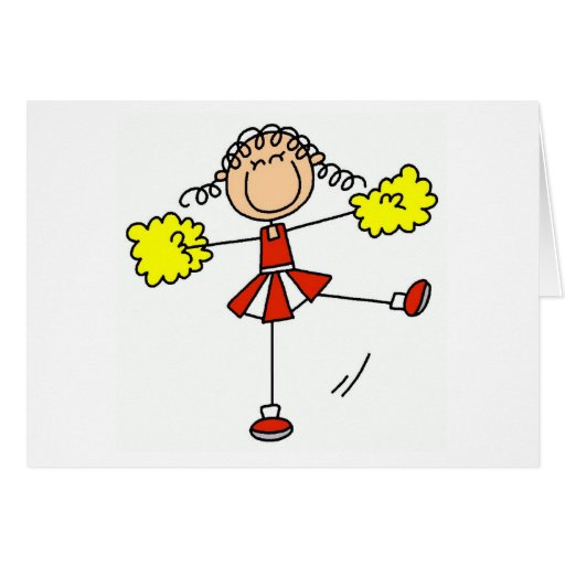 Red and Gold Cheerleader Greeting Card