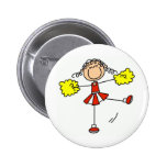 Red and Gold Cheerleader Pinback Button