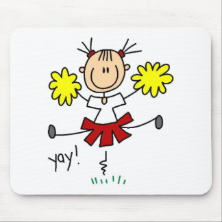 Red And Gold Cheerleader With Pom Poms Mousepad