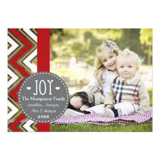 RED AND GOLD CHEVRON JOY HOLIDAY PHOTO CARD