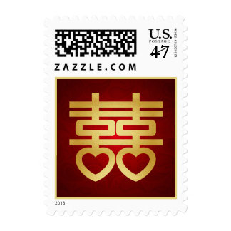 Red and Gold Chinese Double Happiness Symbol Postage Stamp