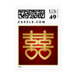 Red and Gold Chinese Double Happiness Symbol Stamps