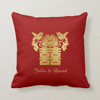 Red and Gold Chinese Love Birds Double Happiness Throw Pillows