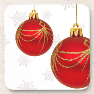 Red and Gold Christmas Bulbs Set of Cork Coasters