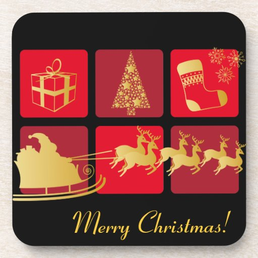 Red and Gold Christmas coaster
