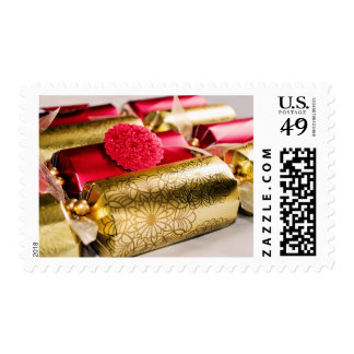 Red and Gold Christmas Crackers Stamp