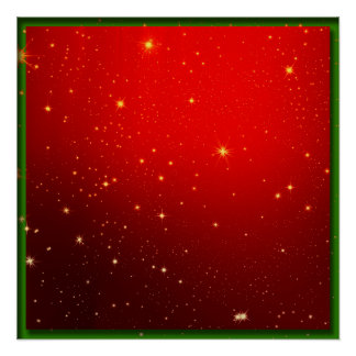 Red and Gold Christmas Field of Stars Poster