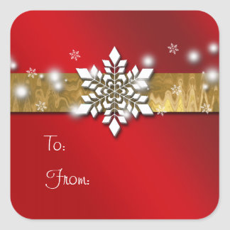 Red and Gold Christmas Gift Tag Sticker