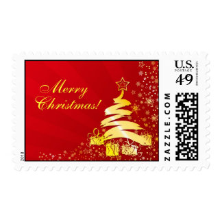 Red and Gold Christmas Greeting Stamps