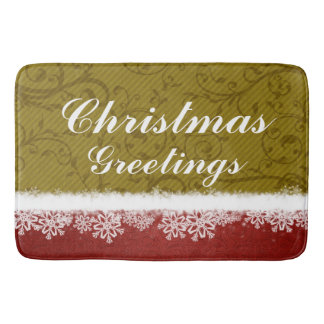 Red and Gold Christmas Greetings Snowflakes Bath Mats