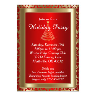 Red and Gold Christmas Holiday Tree 5x7 Paper Invitation Card