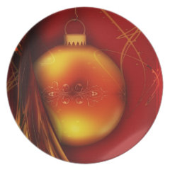 Red and Gold Christmas Ornament Holiday Gifts Party Plates