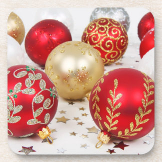 Red and Gold Christmas Ornaments Beverage Coasters