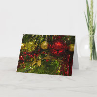 Red and Gold Christmas Ornaments on Xmas Tree Card