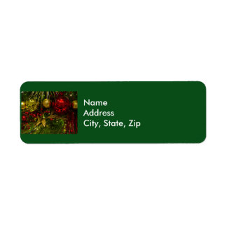 Red and Gold Christmas Ornaments Xmas Tree Label Return Address Label