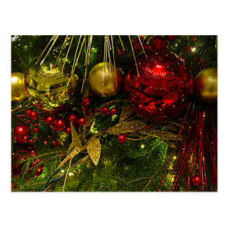 Red and Gold Christmas Ornaments Xmas Tree PCard Postcard