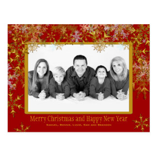 Red and Gold Christmas Photo Postcard