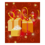 Red and Gold Christmas present poster