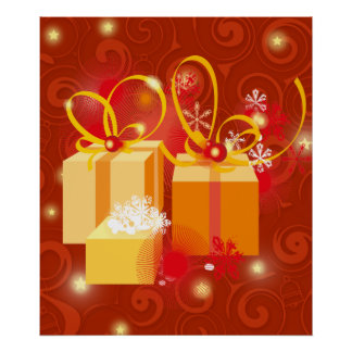 Red and Gold Christmas presents Print