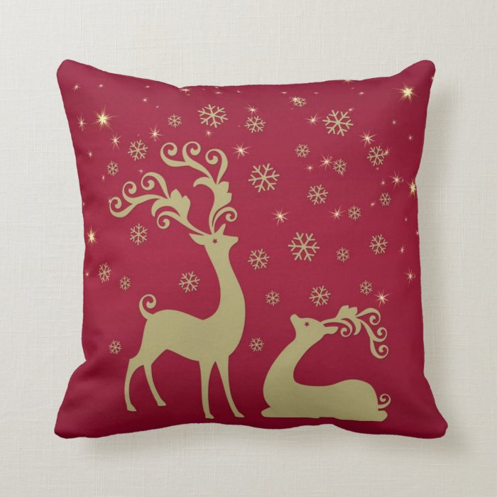Throw Pillows Red And Gold : Red and gold Christmas reindeer Throw Pillow Zazzle