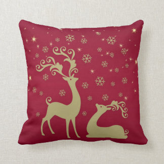 Red and gold Christmas reindeer Throw Pillow