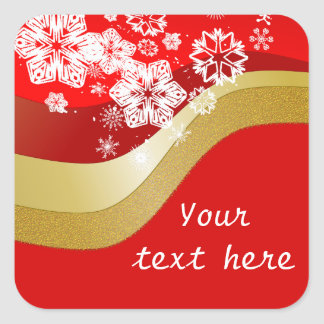 Red and Gold Christmas Theme Label