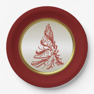 Red and Gold Christmas Tree 9 Inch Paper Plate