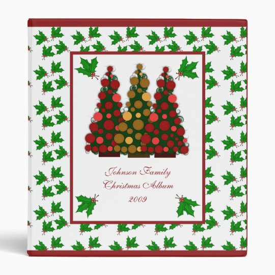 Red and Gold Christmas Tree and Holly Binder