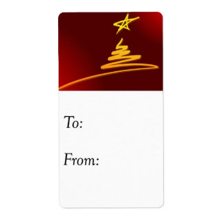 Red and Gold Christmas Tree Gift Tag