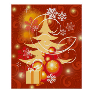 Red and Gold Christmas tree Poster