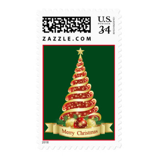 Red and Gold Christmas Tree Stamp
