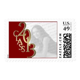 Red and Gold Class of 2013 Graduation Photo Stamp