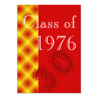 Red and gold Class reunion party Card