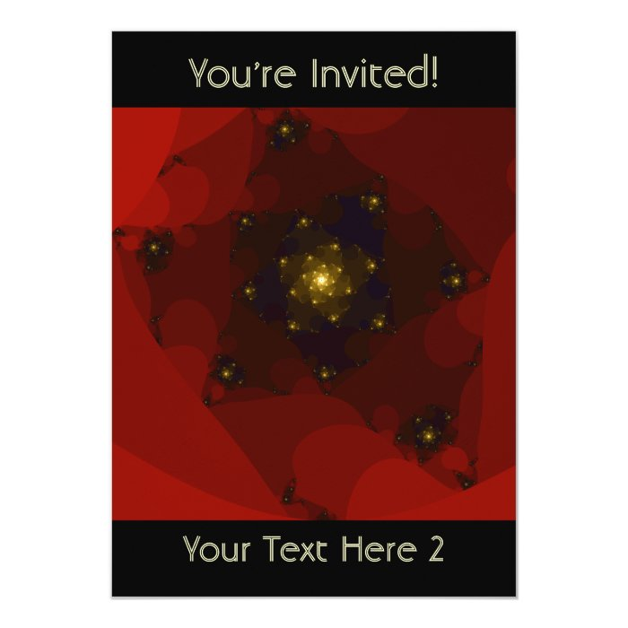 Red and Gold Color. Fractal Art. Card