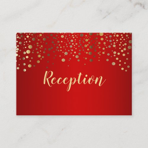 Red and Gold Confetti Dots _ Reception Enclosure Card