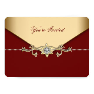 Red and Gold Corporate Party 5x7 Paper Invitation Card