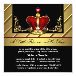 Red and Gold Crown Prince Baby Shower Personalized Invites