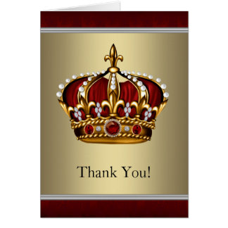 Red and Gold Crown Thank You Cards Note Card