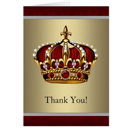 Red and Gold Crown Thank You Cards