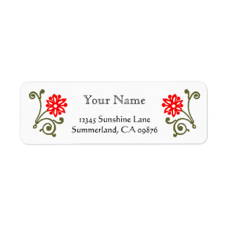 Red and Gold Daisy Etching Custom Return Address Label