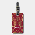 Red and gold damask bag tags