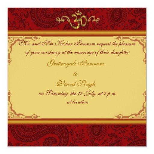 Red And Gold Damask Brocade Hindu Wedding Card