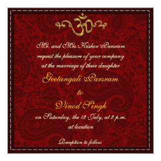 Red and gold damask brocade Hindu wedding Personalized Invites