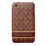 Red and Gold Damask iPhone 3 Case